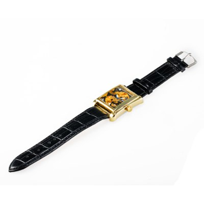 ФОТО Sewor Hollow - out Mechanical Watch Male Hand Winding Leather Band Wristwatch