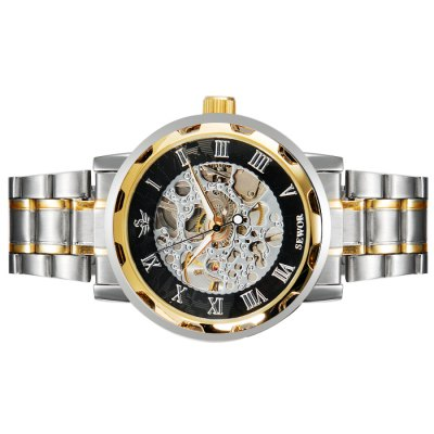 ФОТО Sewor Hollow - out Male Mechanical Watch Stainless Steel Band Round Dial Wristwatch