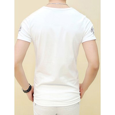 Refreshing Slimming Round Neck Short Sleeves Ethnic Print Solid Color Men's T-Shirt от GearBest.com INT