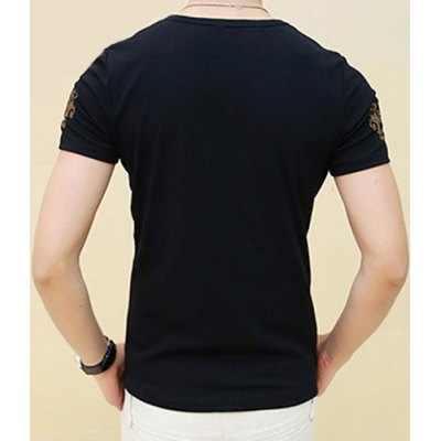Гаджет   Refreshing Slimming Round Neck Short Sleeves Ethnic Print Solid Color Men
