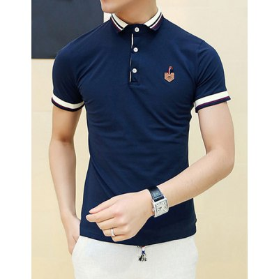 Гаджет   Stylish Fitted Turn-down Collar Short Sleeves PU Leather Design Color Block Men