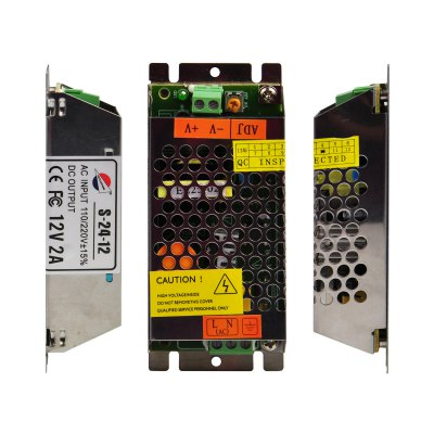 S - 24 - 12 24W 12V / 2A Long Type Switch Power Supply Driver for LED Light and Surveillance Security Camera ( 110  -  220V )