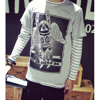 Fashion Round Neck Slimming Abstract Cartoon Print Short Sleeve Cotton Blend T-Shirt For Men
