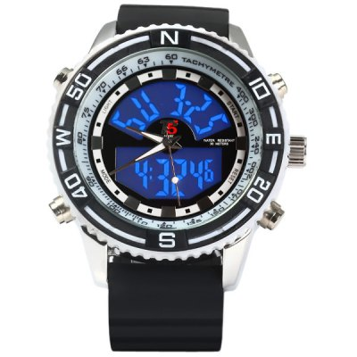 Гаджет   T5 3279 LED Sports Watch Japan Double Movt Water Resistant Rubber Band Wristwatch Sports Watches