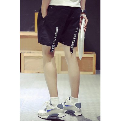 Гаджет   Casual Slimming Lace-Up Letters Braid Embellished Solid Color Straight Leg Men