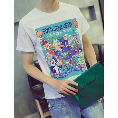 Гаджет   Classic Cartoon Print Splicing Round Neck Slimming Short Sleeves Men