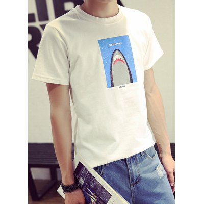 Гаджет   Modern Style Slimming Round Neck Cartoon Shark Print Short Sleeves Men