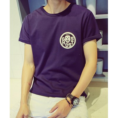 Гаджет   Stylish Fitted Round Neck Skulls Applique Letters Print Short Sleeves Men