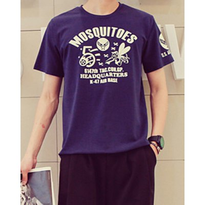 Гаджет   Trendy Slimming Round Neck Back Beauty and Letters Print Short Sleeves Men
