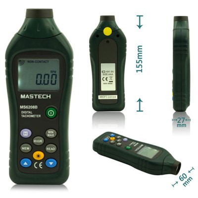 MASTECH MS6208B Multi - functional Contact Digital Tachometer 50RPM  -  19999RPM for Industrial / Agriculture