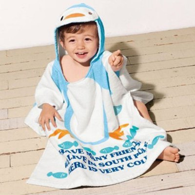 Yuke Cotton Bath Robe for 1  -  5 Year - Old Kids Cute Frog / Rabbit / Penguin / Duck Hooded Towel