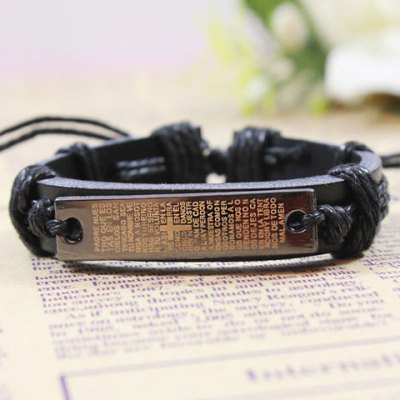 Punk Cross Scripture BraceletMens Jewelry<br>Punk Cross Scripture Bracelet<br><br>Gender: For Men<br>Chain Type: Leather Chain<br>Style: Trendy<br>Shape/Pattern: Cross<br>Length: 6CM<br>Weight: 0.070kg<br>Package Contents: 1 x Bracelet