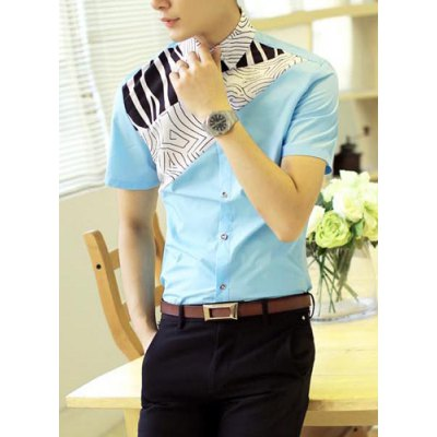 Гаджет   Classic Terrain Texture Print Splicing Fashion Fitted Turn-down Collar Short Sleeves Men