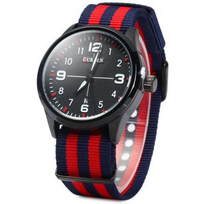 Curren 8195 Date Display Male Quartz Watch with Canvas Band