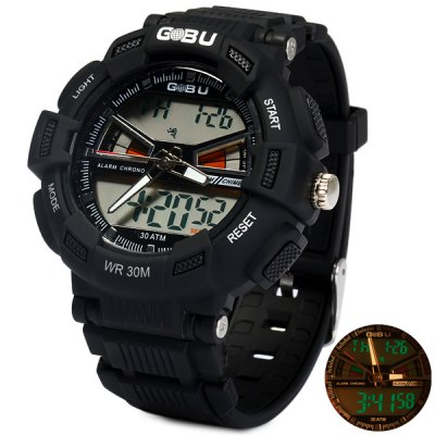 ФОТО Gobu 1531 Dual Movt LED Sports Military Watch 30M Water Resistance Rubber Band