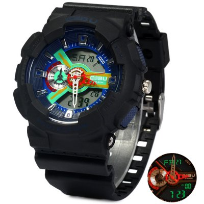 Gobu 1532 Water Resistant LED Sports Dual-movt Army Watch