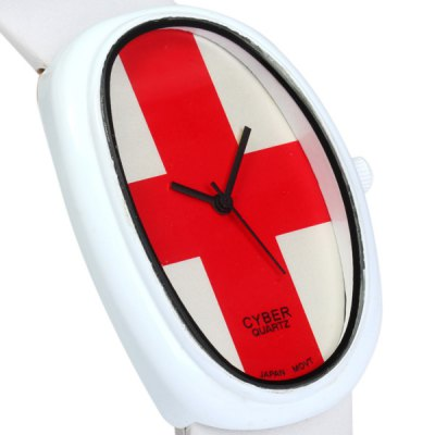Гаджет   Astina 2333 Men Women Swiss Flag Pattern Japan Quartz Watch Leather Band Oval Dial Wristwatch Unisex Watches