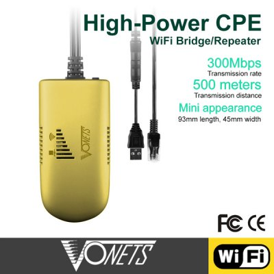 Vonets VAP11G-500 300Mbps Wireless Repeater for PC Camera TV WiFi Adapter 500 Meters Distance