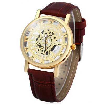Xinslon Hollow Out Style Men Quartz Watch with Leather Band