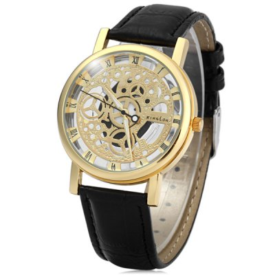 Фотография Xinslon Hollow Out Style Men Quartz Watch with Leather Band