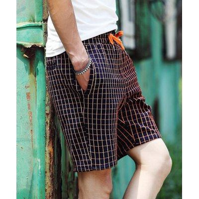 Гаджет   Slimming Stylish Lace-Up Gingham Design Straight Leg Cotton Blend Shorts For Men Shorts