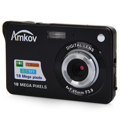 Amkov CDC3 18.0MP 2.7 inch TFT Screen 8X Digital Zoom Digital Camera Anti - shake 3.0MP CMOS Sensor High Resolution VideoDigital Camera<br>Amkov CDC3 18.0MP 2.7 inch TFT Screen 8X Digital Zoom Digital Camera Anti - shake 3.0MP CMOS Sensor High Resolution Video<br><br>Brand: Amkov<br>Model: CDC3<br>Other function: Loudspeaker, Microphone, Continue Shot, Smile Capture, Face detection, Anti-shake<br>Language: French, French, Spanish, Russian, German, Chinese, English, Portuguese<br>Pixel: &gt;1300w<br>Effective pixel: &gt;1300w<br>Display size (inch): 2.7<br>Screen type: HD screen<br>Image resoluion: 1920 x 1080 (2MP HD), 3648 x 2736 (10MP), 3648 x 2048 (7MP HD), 4000 x 3000 (12MP), 640 x 480 (VGA), 4416 x 3312 (14MP), 2048 x 1536 (3MP), 4896 x 3672 (18M), 2592 x 1944 (5MP), 4608 x 3456 (16M), 326<br>Sensor: 3MP CMOS<br>Special performance: HD, Microphone, Smile Shutter, Continue Shot, Smile Capture, Face detection, shock-resistant<br>Digital zoom: 8X<br>Battery type: Lithium Battery<br>Battery capacity: 550 mAh<br>Video resolution: 320 x 240, 640 x 480, 1280 x 720<br>Lens type: Fix<br>Scene: Scenery, Building, Portrait, Party, Night scenery, Sports, Snow, Auto / Night portrait, High sensitivity, Food, Beach, Kids<br>White balance: Cloudy, Daylight, Auto, Tungsten, Fluorescent<br>Image quality: Excellent<br>ISO: 100, Auto, 200, 400<br>Exposure compensation : +3EV, -3EV<br>Self-timer: 10s, 5s, 2s<br>File format: AVI, JPEG<br>Interface: SD card slot<br>System requirements: Windows XP, Vista, Win7, Mac<br>Memory support : SD card<br>External memory storage(Maximum, not included): SD card up to 32GB<br>Product weight: 0.090 kg<br>Package weight: 0.38 kg<br>Product size (L x W x H): 9.5 x 6 x 1.7 cm / 3.73 x 2.36 x 0.67 inches<br>Package size (L x W x H): 17 x 17 x 7 cm / 6.68 x 6.68 x 2.75 inches<br>Package contents: 1 x 18.0MP Digital Camera, 1 x Power Adapter, 1 x USB Cable, 1 x Lithium Battery, 1 x Camera Pouch, 1 x Strap, 1 x CD, 1 x English User Manual
