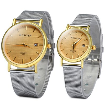 Rosivga 169 Date Display Couple Quartz Watch with Steel Net Strap