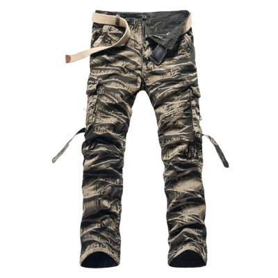 Straight Leg Cotton Blend Cargo Pants