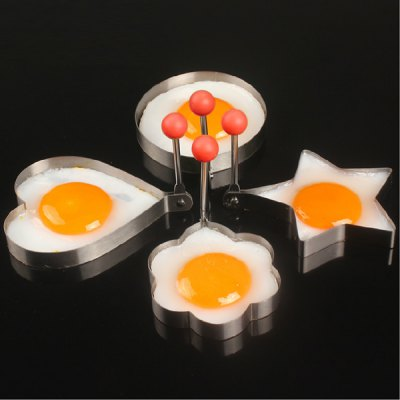 4pcs Cook Fried Egg Shaper Pancake Stainless Steel Heart / Ring / Flower / Star Design Kitchen Cooking Tool Rings Mould