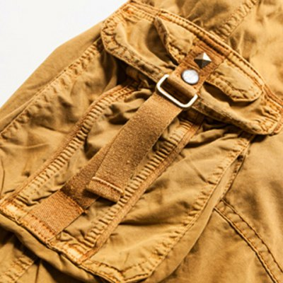 Фотография Military Style Stylish Multi-Pocket Solid Color Straight Leg Cotton Blend Shorts For Men