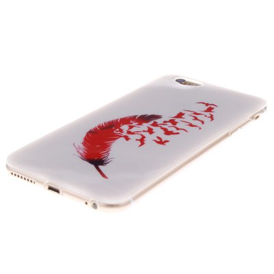 ФОТО Red Feather Pattern TPU Protective Back Cover Case for iPhone 6 Plus  -  5.5 inch