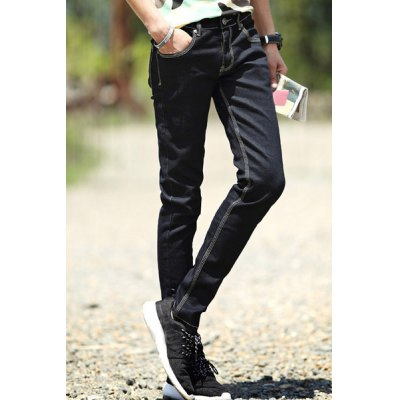 Гаджет   Fitted Stylish Simple Solid Color Sutures Design Straight Leg Jeans For Men Pants