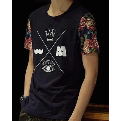 ФОТО Ethnic Style Slimming Color Block Round Neck Floral Short Sleeves Men