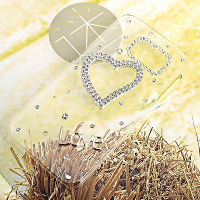 Luxury Bling Diamonds Heart Pattern Phone Frame Case for Samsung Galaxy S6 G9200