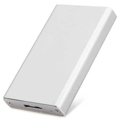 mSATA SSD to USB 3.0 SSD Box Compact External Hard Disk Enclosure Support Windows MacUSB Accessories<br>mSATA SSD to USB 3.0 SSD Box Compact External Hard Disk Enclosure Support Windows Mac<br><br>Size: 2.5 inch<br>External Interface: USB3.0<br>Supporting Max. Hard Drive Capacity: 1TB<br> Read Speed: 5Gbps<br>Hot Plug: Support<br>Compatible: Windows 7, 8 (8.1), Vista, Mac<br>Certificate: FCC, CE<br>Material: Aluminum<br>Color: Silver<br>Product Weight: 0.033 kg<br>Package Weight: 0.104 kg<br>Product Size(L x W x H): 6.5 x 3.8 x 1.0 cm / 2.55 x 1.49 x 0.39 inches<br>Package Size(L x W x H): 9.0 x 6.0 x 3.3 cm / 3.54 x 2.36 x 1.30 inches<br>Packing List: 1 x mSATA SSD to USB 3.0 SSD Hard Disk Box, 2 x Screw, 1 x USB Cable, 1 x Screwdriver