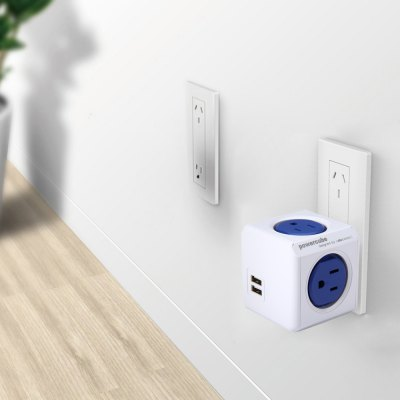 1 Piece Allocacoc Original 5 Outlets Dual USB Port PowerCube Socket US Plug Adapter