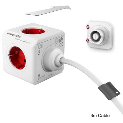 Allocacoc Extended 5 Outlets PowerCube Socket DE Plug Adapter with 3m Cable