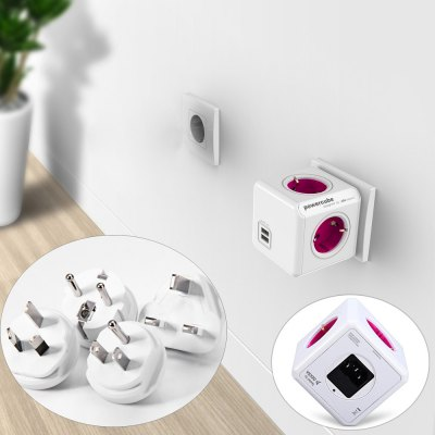 Allocacoc 4 Outlets 2 USB Ports PowerCube Socket 4 Travle Plugs Adapter