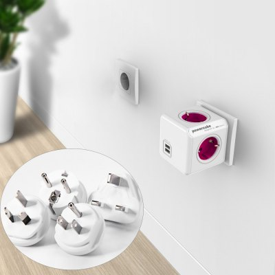 Allocacoc 4 Outlets 2 USB Ports PowerCube Socket 4 Travle Plugs AdapterPower Strips<br>Allocacoc 4 Outlets 2 USB Ports PowerCube Socket 4 Travle Plugs Adapter<br><br>Type: Eco-friendly, Safety, Novelty, Fashion, Practical<br>For: All<br>Material: ABS, Electronic Components<br>Occasion: School, Home, Office<br>Features: Creative magic cube design, 4 outlets, dual USB ports, 4 travel plugs<br>Color: Rose<br>Product weight   : 0.202 kg<br>Package weight   : 0.415 kg<br>Product size (L x W x H)   : 7.4 x 7.4 x 7.4 cm / 2.91 x 2.91 x 2.91 inches<br>Package size (L x W x H)  : 8 x 8 x 16 cm / 3.14 x 3.14 x 6.29 inches<br>Package contents: 1 x Allocacoc PowerCube Socket, 1 x US Plug, 1 x EU Plug, 1 x UK Plug, 1 x  AU Plug
