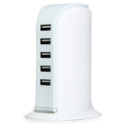 Multi - use 5 USB Ports 30W Charger Over - current Protection Power Adapter for iPhone iPad iPod Samsung HTC  -  100 - 240V US Plug