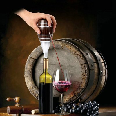 TOKUYI TO - EPD Wine Cider Electric Decanter Pump for Home Bar Party Travel  -  Wooden Barrel Design