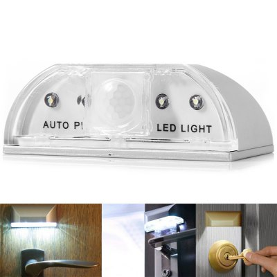 L0403 Multifunctional Infrared Radial Sensor PIR Detector 4 LEDs Door LightNight Lights<br>L0403 Multifunctional Infrared Radial Sensor PIR Detector 4 LEDs Door Light<br><br>Appearance: Sleek<br>Available Light Color: Natural White<br>Features: Long Life Expectancy, Energy Saving, Low Power Consumption, Sensor<br>Function: Home Lighting<br>Package Contents: 1 x L0403 PIR Keyhole LED Light, 1 x Adhesive, 1 x User Manual<br>Package size (L x W x H): 9 x 5.3 x 3.5 cm<br>Package weight: 0.06 kg<br>Product size (L x W x H): 8 x 4.5 x 3 cm / 3.15 x 1.77 x 1.18 inches<br>Product weight: 0.043 kg<br>Sheathing Material: Plastic<br>Total Emitters: 4 LEDs<br>Type: Sensor Light