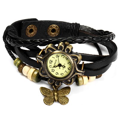 Womage 695 Vintage Style Weave Wrap around Leather Band Female Quartz Watch