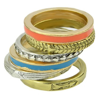 6PCS of Stylish Trendy Color Glazed Round Rings For Women