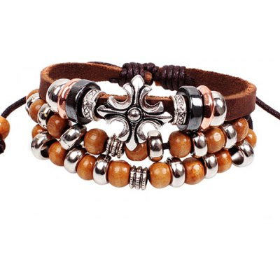 Bohemia Ethnic Beads Cross Layered Chain Bracelet For Women