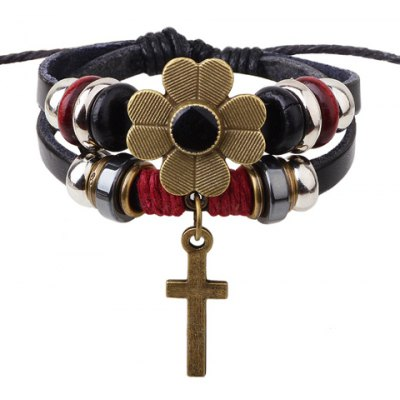 Classic Flower Cross Pendant Beads Decorated Bracelet For Women