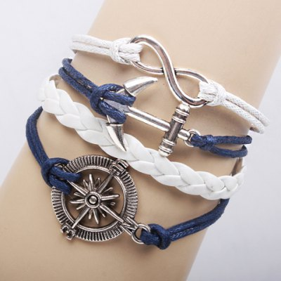 Retro Classic Weaved Chain Anchor Rudder Decorated Bracelet For Women