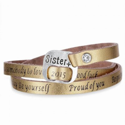 Фотография Attractive Faux Leather Letter Printed Multi-Layered Bracelet For Women