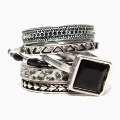 6PCS Characteristic Retro Style Round Rings For Women