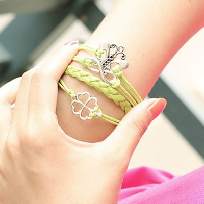 Fresh Openwork Leaf Butterfly Decorated Bracelet For Women